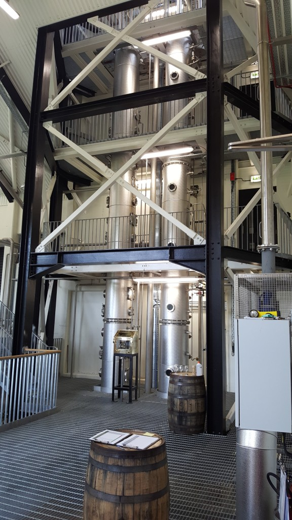 The new continuous stills at the Walsh Distillery