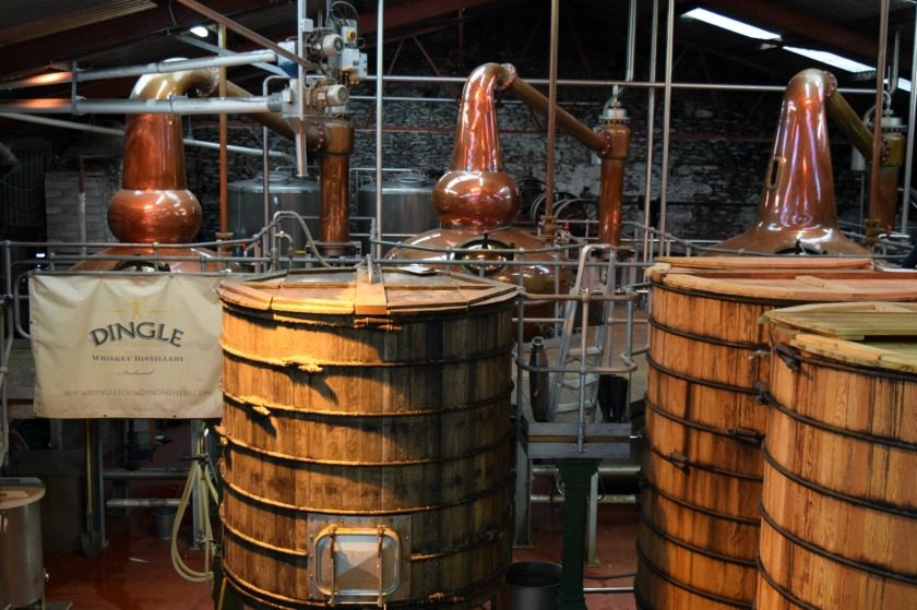 The stills in the back with the Mash Tun in front and washbacks on the right